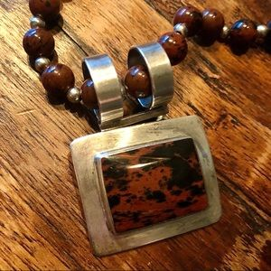 Mahogany Obsidian and Silver pendant on beads